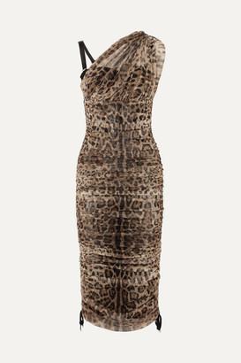 Dolce & Gabbana One-shoulder Lace-up Leopard-print Mesh Dress - Leopard print