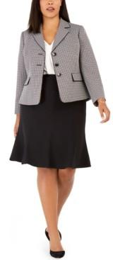 Le Suit Plus Size Tweed Skirt Suit