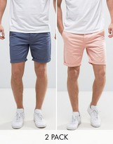 Asos 2 Pack Slim Chino Shorts In Blue & Pink Save