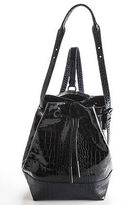 Opening Ceremony Black Crocodile Embossed Patent Leather Izzy Backpack 90052991