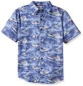 Margaritaville Men's Short Sleeve Changes In Latitudes Seaplane Print Shirt