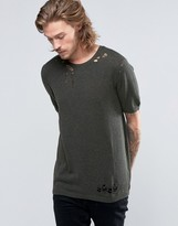 Asos Knitted T-shirt With Laddering