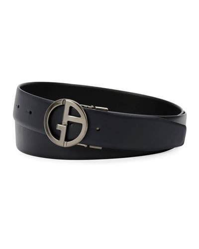 Giorgio Armani Men's Logo-Buckle Vitello Leather Belt