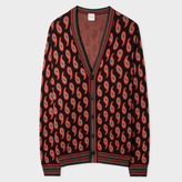 Paul Smith Men's Dark Brown And Pink Paisley Jacquard Wool-Silk Cardigan