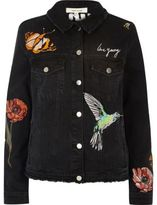 River Island Womens Black embroided denim jacket