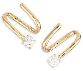 Anita Ko 18K Yellow Gold & Diamond Coil Earrings