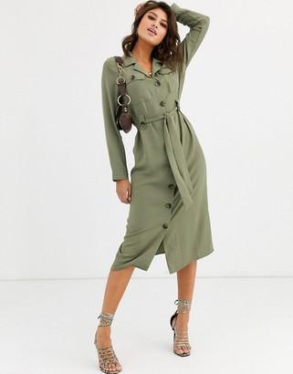 ASOS DESIGN utility button through midi shirt dress in light khaki