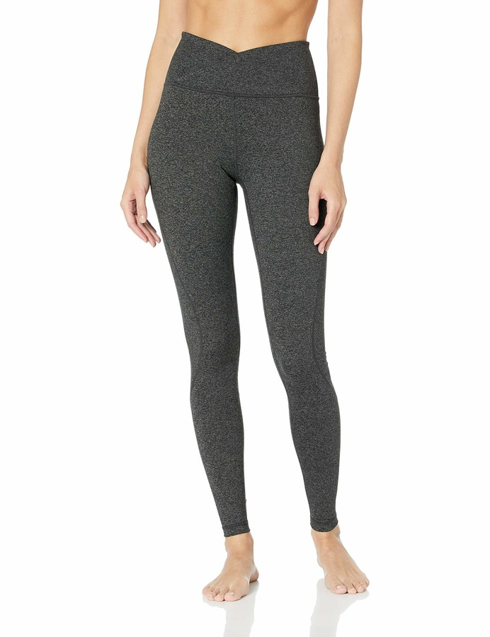Core 10 Build Your Own Yoga Pant Full-Length Legging Dark Heather Grey Cross Waist S (4-6)