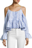 Romeo & Juliet Couture Striped Cotton Cold-Shoulder Cropped Blouse