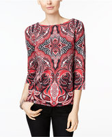 Charter Club Petite Printed Boat-Neck Top, Only at Macy's