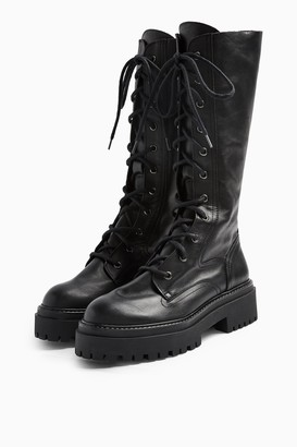 Topshop Womens Atsy Black Calf Lace Up Leather Boots - Black