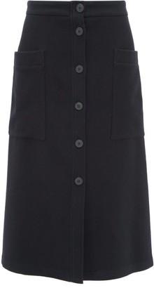 Raey Button-through A-line Wool-blend Midi Skirt - Womens - Navy