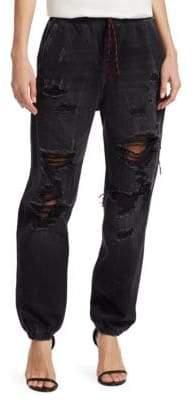 Alexander Wang Distressed Denim Jogger Pants
