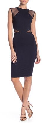 French Connection Mesh Panel Knit Sheath Dress