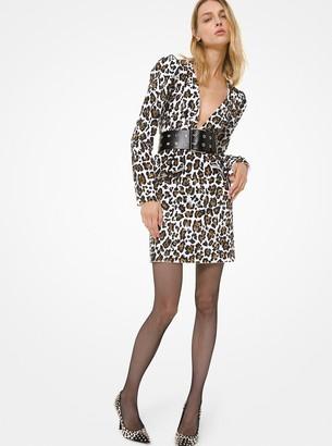 Michael Kors Collection Leopard Sequined Peplum Plunge Dress