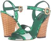 Dolce & Gabbana Banana Leaf Print Satin Sandal with Midollino Wedge Heel