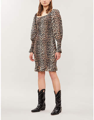 Ganni Puffed-sleeve leopard-print cotton and silk-blend mini dress