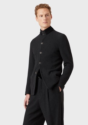 Giorgio Armani Beckham Line, Deconstructed Jacket In Boucle Fabric