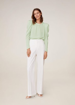 MANGO Puffed-shoulder blouse pastel green - 4 - Women