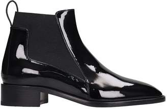 Christian Louboutin Marmada Flat Low Heels Ankle Boots In Black Patent Leather
