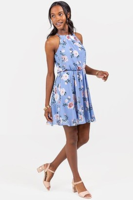 francesca's Flawless Dress Floral in Oxford Blue - Oxford Blue