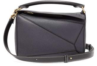 Loewe Puzzle Small Grained-leather Cross-body Bag - Womens - Dark Blue