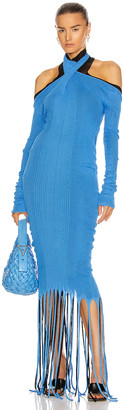 Bottega Veneta Rib Fringe Cold Shoulder Dress in Swimming Pool & Black | FWRD