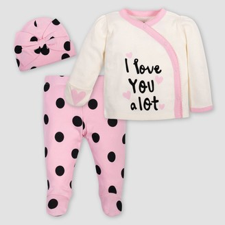 Gerber Baby Girls' 3pc Polka Dots Top & Bottom Set with Cap - Pink/Ivory