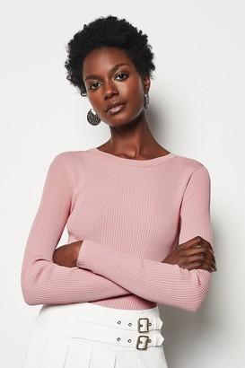 Karen Millen Pink Round Neck Rib Jumper
