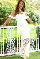Pink Boutique Jelissa Cream Crochet Lace Layered Bardot Maxi Dress