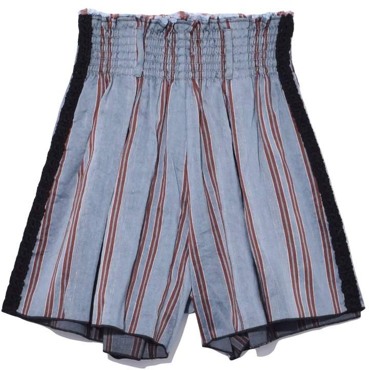Viscose Linen Handcrafted Stripe Shorts in Mare Azzurro