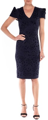 Badgley Mischka Puff Sleeve Scuba Crepe Cocktail Dress