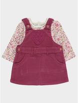 George Floral Corduroy Pinafore Dress and Top Set