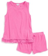 Splendid Girl's Terry Fringe Top & Shorts Set