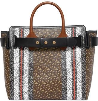 Burberry The Medium Monogram Stripe E-canvas Tote Bag