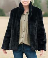 Black Mink Faux Fur Coat - Plus Too