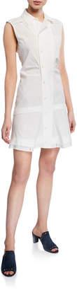 Derek Lam 10 Crosby Button-Front Placket Sleeveless Ruffle-Hem Shirtdress