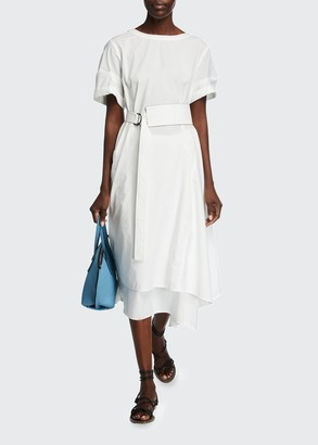 Brunello Cucinelli Crinkled Cotton Short-Sleeve Dress