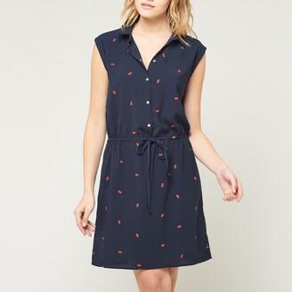 Le Temps Des Cerises Up Graphic Print Shirt Dress with Tie-Waist