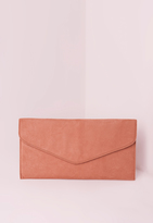 Missguided Faux Suede Minimal Envelope Clutch Bag Pink