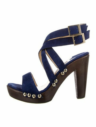 Jimmy Choo Suede Studded Accents Sandals Blue
