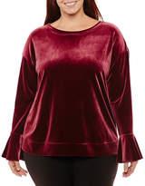 WORTHINGTON Worthington Long Bell Sleeve Velvet Sweatshirt-Plus