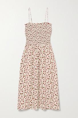 Reformation Sable Shirred Floral-print Georgette Midi Dress - Beige