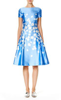 Carolina Herrera Leaf-Print Short-Sleeve A-Line Dress, Blue/White