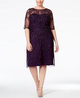 Adrianna Papell Plus Size Short-Sleeve Beaded Dress