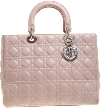 Christian Dior Pale Pink Leather Large Lady Tote