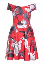 Quiz Red And Grey Floral Print Bardot Skater Dress