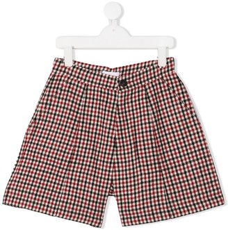 Chloé Kids TEEN checkered pleated detail shorts