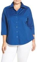 Foxcroft Plus Size Women's Shaped Johnny Collar Shirt