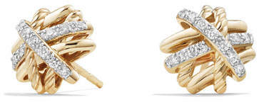 David Yurman 1mm Crossover 18K Yellow Gold Earrings with Diamonds